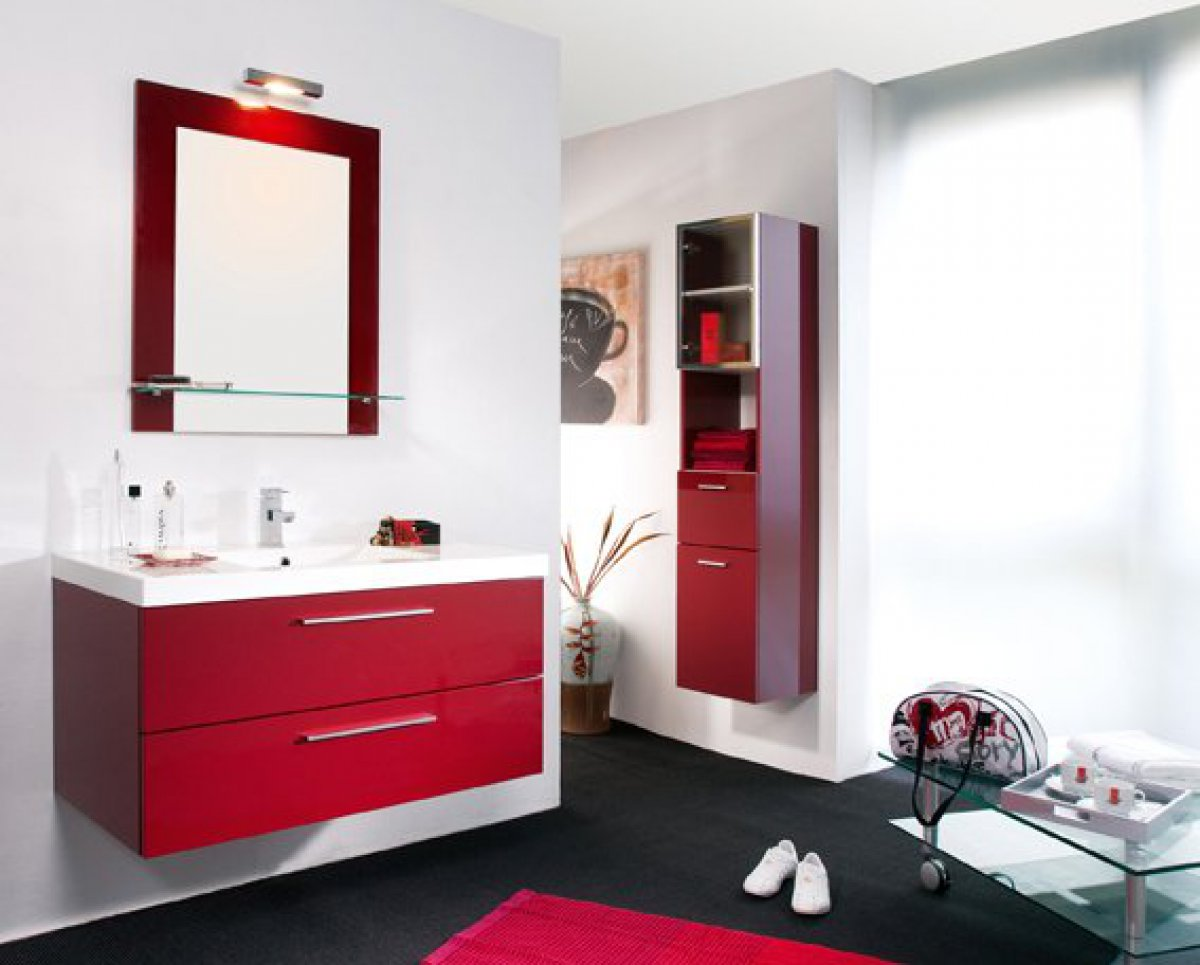 salle de bain rouge et blanc maison design. Black Bedroom Furniture Sets. Home Design Ideas